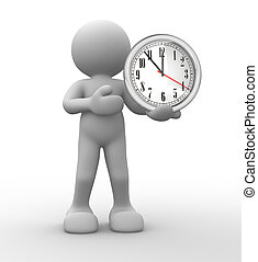 Clock - 3d people - human character, person and a clock 3d...