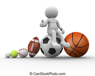 Different balls - 3d people - human character, person with...