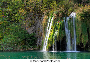 Waterfall at Plitvicka Jezera - Pli - Waterfall in the...