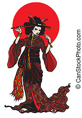 Beautiful japanese woman with hairpins on white background...