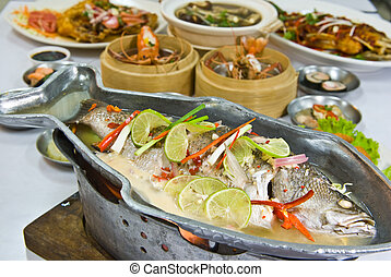 Steamed snapper fish with lemon