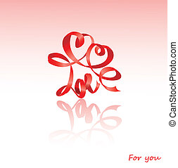Valentine`s Day card with hearts and word LOVE is made by...