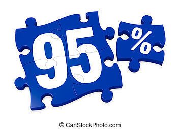 percent icon - some puzzle pieces with the number 95 and the...