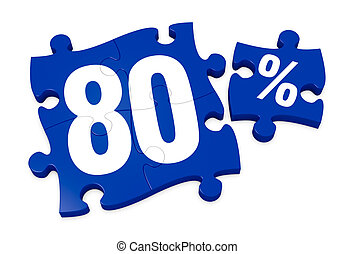 percent icon - some puzzle pieces with the number 80 and the...