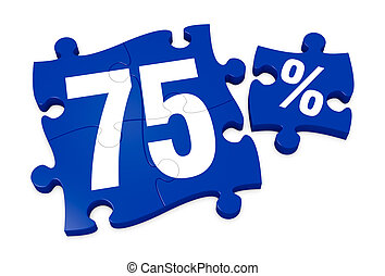 percent icon - some puzzle pieces with the number 75 and the...