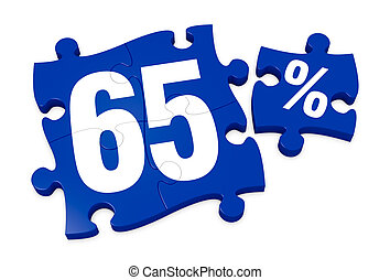 percent icon - some puzzle pieces with the number 65 and the...