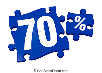percent icon - some puzzle pieces with the number 70 and the...