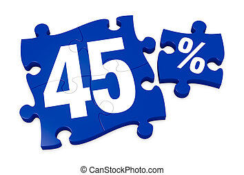 percent icon - some puzzle pieces with the number 45 and the...