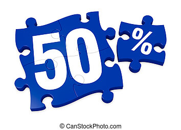 percent icon - some puzzle pieces with the number 50 and the...