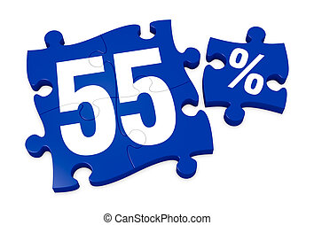 percent icon - some puzzle pieces with the number 55 and the...