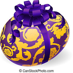Purple and gold Easter Egg With Bow