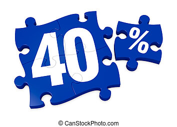 percent icon - some puzzle pieces with the number 40 and the...
