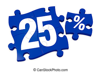 percent icon - some puzzle pieces with the number 25 and the...