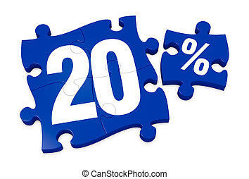 percent icon - some puzzle pieces with the number 20 and the...