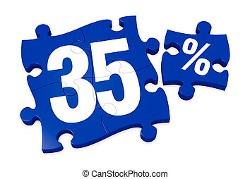 percent icon - some puzzle pieces with the number 35 and the...