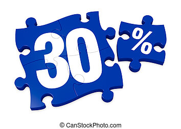 percent icon - some puzzle pieces with the number 30 and the...
