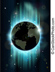 Abstract world globe space backgrou - Abstract futuristic...