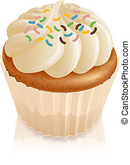 Fairy cake cupcake with sprinkles - Illustration of a fairy...