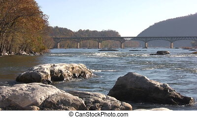 Potomac River Highway Bridge - Traffic moves across the...