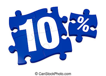 percent icon - some puzzle pieces with the number 10 and the...