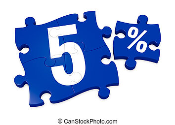 percent icon - some puzzle pieces with the number 5 and the...