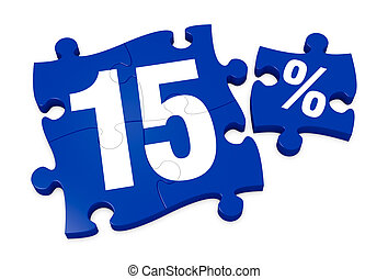 percent icon - some puzzle pieces with the number 15 and the...
