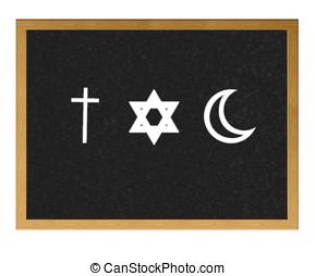 Religions - Isolated blackboard with Religions