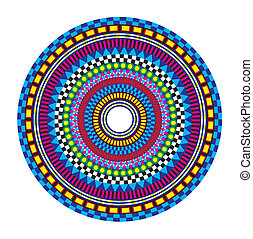 Colorful Mandala - Circular pattern on white background