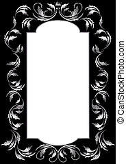 Frame of silver leaf in old style on a black background....