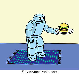 Robot Servant - Robot helper serving a hamburger