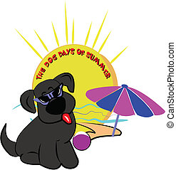 dog days of summer - conceptual illustration of hot humid...