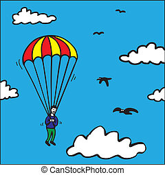 Parachute Jump - Parachute jump in the sky