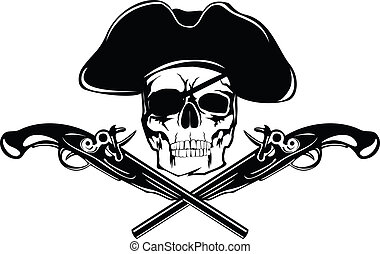 pirate - Piracy flag with skull and crossed pistols