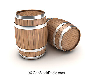 Barrels - Illustration of two wooden barrels on a white...