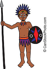 Tribal Man - Tribal warrior with spear and shield