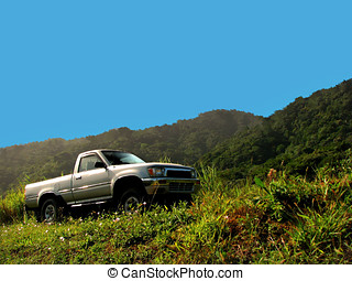 off road - 4x4 off road pick up truck driving in forest road