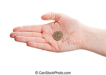 Female hand holding an euro coin isolated on white