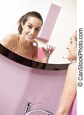 浴室, 婦女, 她, 年輕, 清掃, 牙齒