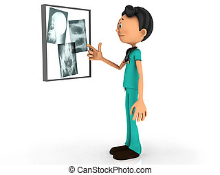 Cartoon doctor examining x-ray plates - A young cartoon...