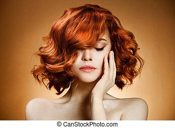 szépség, portré, göndör, haj