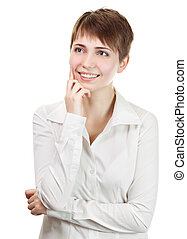 Thinking business woman smiling looking up at copy space. Beautiful young professional isolated on white background.