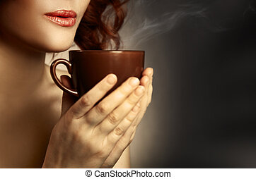 Beautiful Woman Drinking Coffee. Space for text