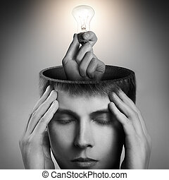 Conceptual image of a open minded man