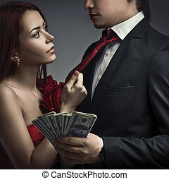 Young stylish couples and money
