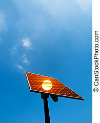 Solar panel under blue sky with sunset reflection