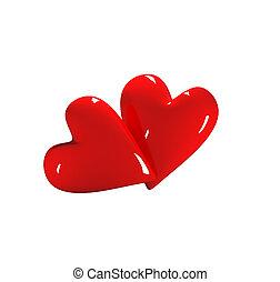 Valentine Hearts On White