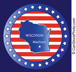 Wisconsin state map - Wisconsin state seal stamp usa