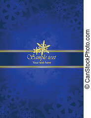 background with snow falkes - Blue gold luxury background...