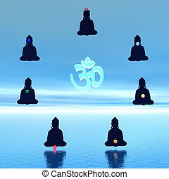 Chakras and aum - Seven chakras in meditation around a aum...