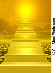 Stairs to shiny sun - Stairs going to bright yellow sun
